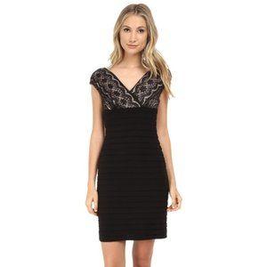 ADRIANNA PAPELL Women's Black Lace Midi Dress 8